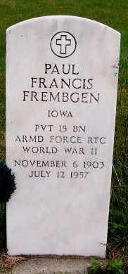FREMBGEN, PAUL FRANCIS - Sioux County, Iowa   PAUL FRANCIS FREMBGEN
