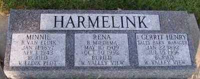VANELDIK HARMELINK, MINNIE - Sioux County, Iowa | MINNIE VANELDIK HARMELINK