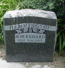 HEMMINGSON, M. BERNHARD - Sioux County, Iowa   M. BERNHARD HEMMINGSON
