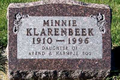KLARENBEEK, MINNIE - Sioux County, Iowa | MINNIE KLARENBEEK