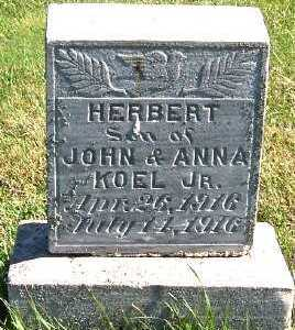 KOEL, HERBERT (SON OF JOHN JR. & ANNA) - Sioux County, Iowa   HERBERT (SON OF JOHN JR. & ANNA) KOEL