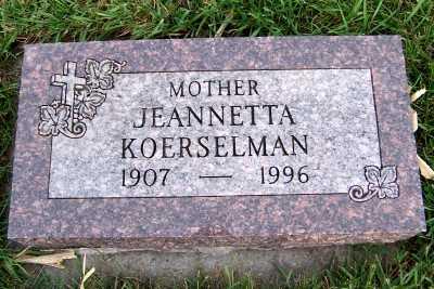 KOERSELMAN, JEANNETTA - Sioux County, Iowa | JEANNETTA KOERSELMAN