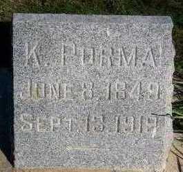 PORMA, K. - Sioux County, Iowa   K. PORMA