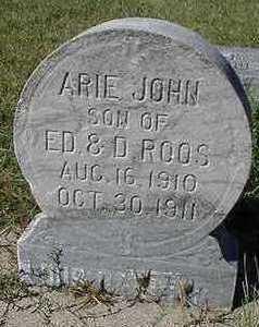 ROOS, ARIE JOHN - Sioux County, Iowa   ARIE JOHN ROOS