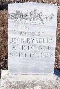 RYNDERS, JOHANNA W. (MRS. JOHN) - Sioux County, Iowa   JOHANNA W. (MRS. JOHN) RYNDERS