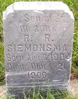 SIEMONSMA, HARRY (1904-1906) - Sioux County, Iowa | HARRY (1904-1906) SIEMONSMA