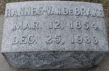 VANDEBRAKE, HANNES  D. 1933 - Sioux County, Iowa   HANNES  D. 1933 VANDEBRAKE