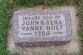VANDEHOEF, INFANT SON - Sioux County, Iowa   INFANT SON VANDEHOEF
