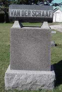 VAN DER SCHAAF, HEADSTONE - Sioux County, Iowa   HEADSTONE VAN DER SCHAAF