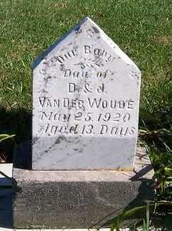 VANDERWOUDE, INFANT DAU OF D. & J. - Sioux County, Iowa | INFANT DAU OF D. & J. VANDERWOUDE