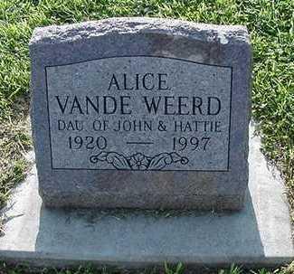VANDEWEERD, ALICE - Sioux County, Iowa | ALICE VANDEWEERD