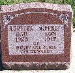 VANDEWEERD, LORETTA (DAU. OF HENRY & ALIDA) - Sioux County, Iowa | LORETTA (DAU. OF HENRY & ALIDA) VANDEWEERD