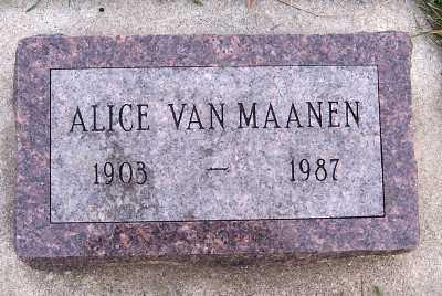 VANMAANEN, ALICE - Sioux County, Iowa | ALICE VANMAANEN