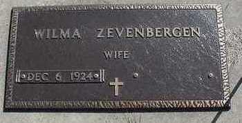 ZEVENBERGEN, WILMA - Sioux County, Iowa   WILMA ZEVENBERGEN