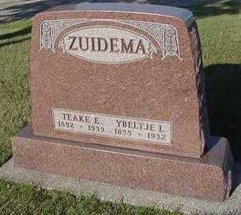 ZUIDEMA, TEAKE E. - Sioux County, Iowa   TEAKE E. ZUIDEMA