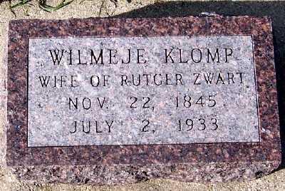 KLOMP ZWART, WILMEJE (MRS. RUTGER) - Sioux County, Iowa | WILMEJE (MRS. RUTGER) KLOMP ZWART
