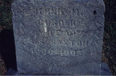 CORDER SAXTON, JENNIE - Taylor County, Iowa | JENNIE CORDER SAXTON