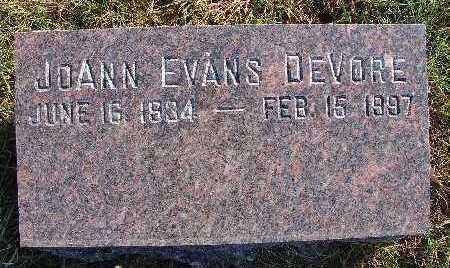 DEVORE, JOANN EVANS - Warren County, Iowa   JOANN EVANS DEVORE