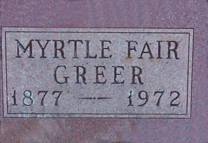 GREER, MYRTLE - Warren County, Iowa   MYRTLE GREER