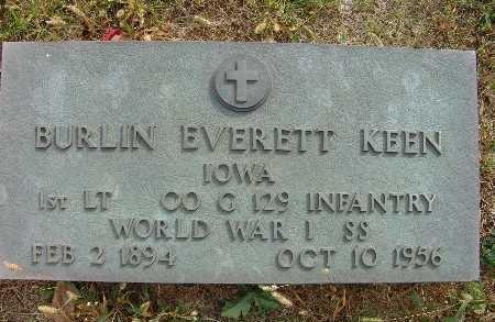 KEEN, BURLIN EVERETT - Warren County, Iowa   BURLIN EVERETT KEEN
