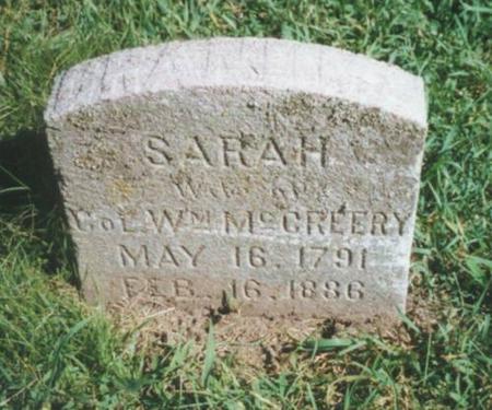 MCCREERY, SARAH - Warren County, Iowa   SARAH MCCREERY