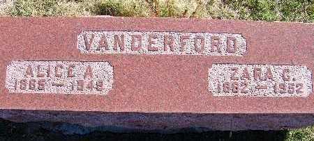 VANDERFORD, ZARA C. - Warren County, Iowa   ZARA C. VANDERFORD
