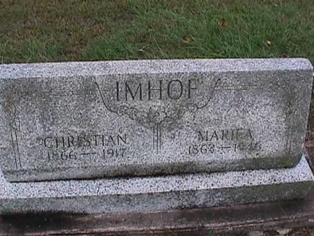 IMHOFF, MARIE A. - Washington County, Iowa   MARIE A. IMHOFF