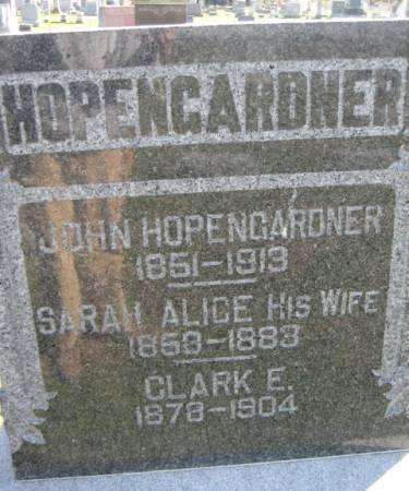 HOPENGARDNER, SARAH ALICE - Washington County, Iowa   SARAH ALICE HOPENGARDNER