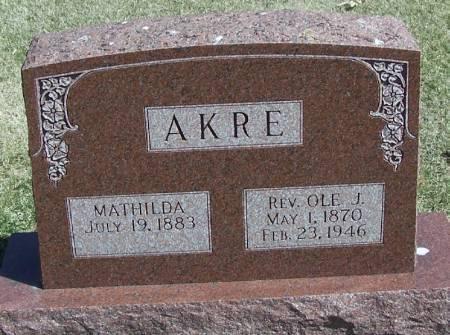 AKRE, OLE J. REV - Winneshiek County, Iowa   OLE J. REV AKRE
