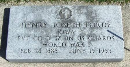 FORDE, HENRY JOSEPH - Winneshiek County, Iowa   HENRY JOSEPH FORDE