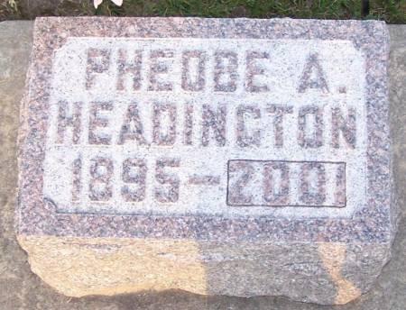 HEADINGTON, PHEOBE A - Winneshiek County, Iowa   PHEOBE A HEADINGTON