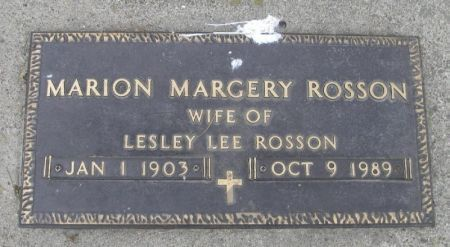 ROSSON, MARION MARGERY - Winneshiek County, Iowa   MARION MARGERY ROSSON
