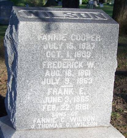 COOPER WILSON, FANNIE - Winneshiek County, Iowa | FANNIE COOPER WILSON