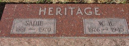 HERITAGE, W. B. & SADIE - Woodbury County, Iowa   W. B. & SADIE HERITAGE