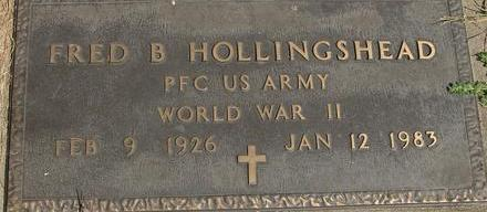 HOLLINGSHEAD, FRED B. - Woodbury County, Iowa   FRED B. HOLLINGSHEAD