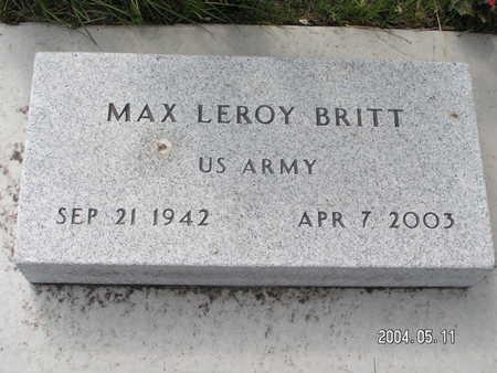 BRITT, MAX LEROY - Worth County, Iowa   MAX LEROY BRITT