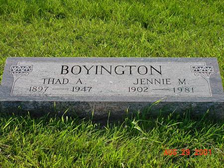 BOYINGTON, JENNIE M. - Wright County, Iowa | JENNIE M. BOYINGTON
