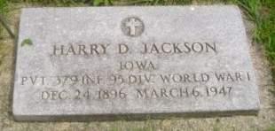 JACKSON, HARRY D. - Wright County, Iowa   HARRY D. JACKSON