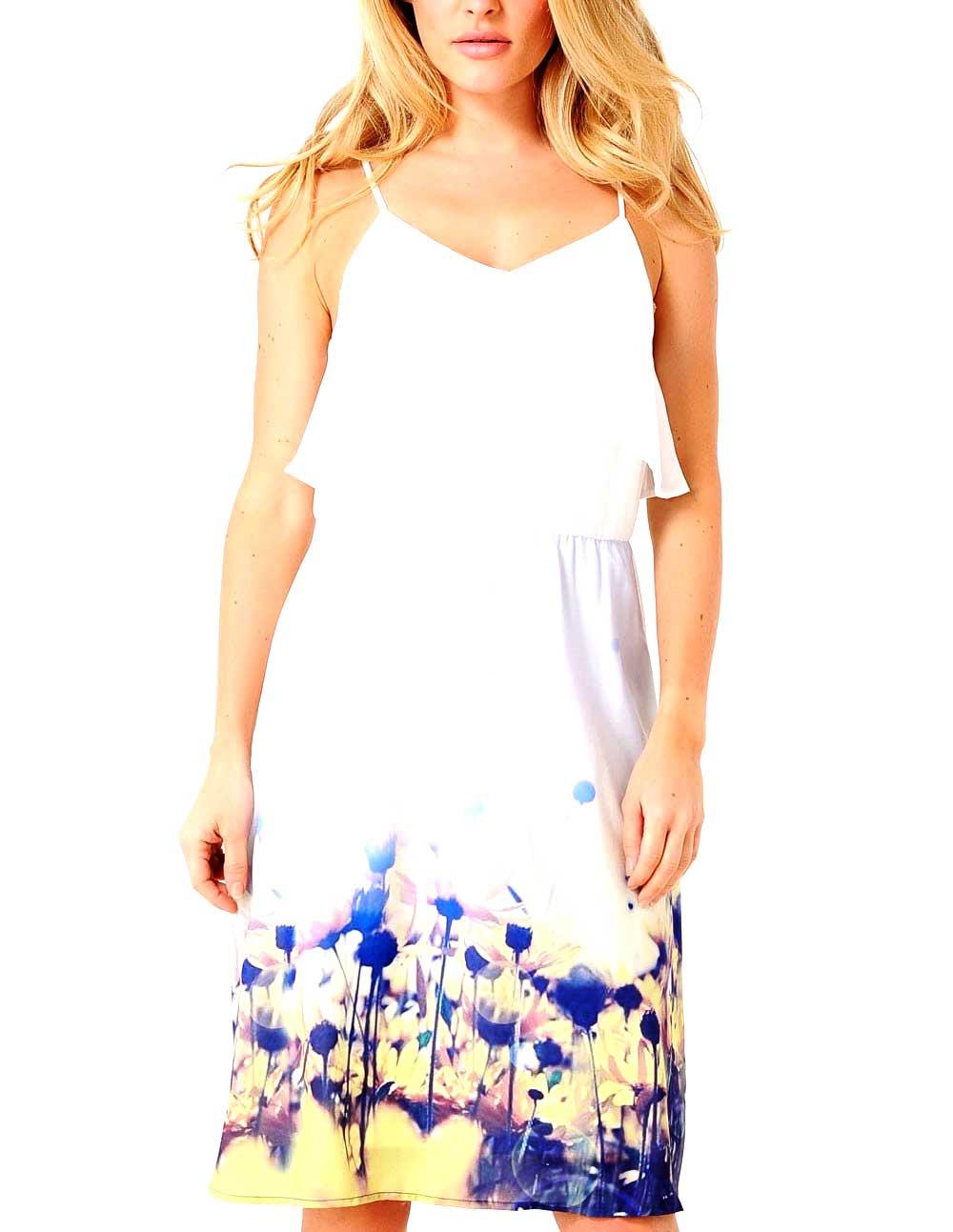 VMDAISY FLOWER STRAP ABK DRESS VERO MODA | Abito | 10130097SNOWWHITEYELLOWDAI