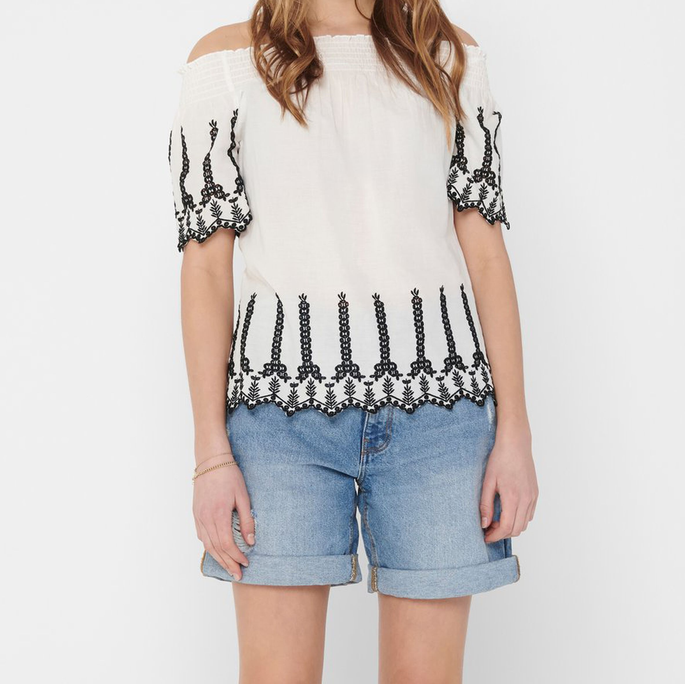 ONLSHERY LIFE CONTRAST EMB ANG DNM TOP ONLY   Camicia   15196498CLOUDDANCEREMB