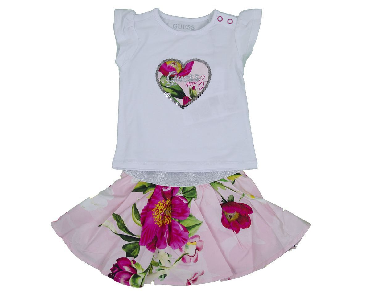 SET SS TSHIRT SKIRT GUESS | Outfit | A1GG10K6YW1TWHT