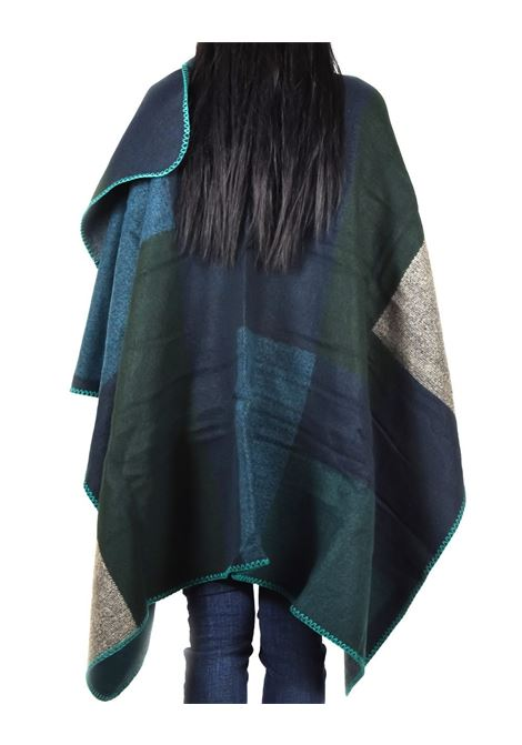 ONLY WEAVED BLOCK PONCHO ONLY | Mantella | 15121701BALSAMGREEN
