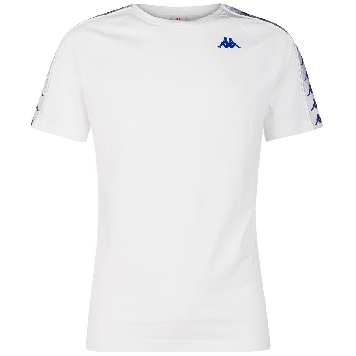 T-shirt girocollo da uomo in jersey Kappa | T-shirt | 303UV10A63 WHITE-VIOLET-BLUE