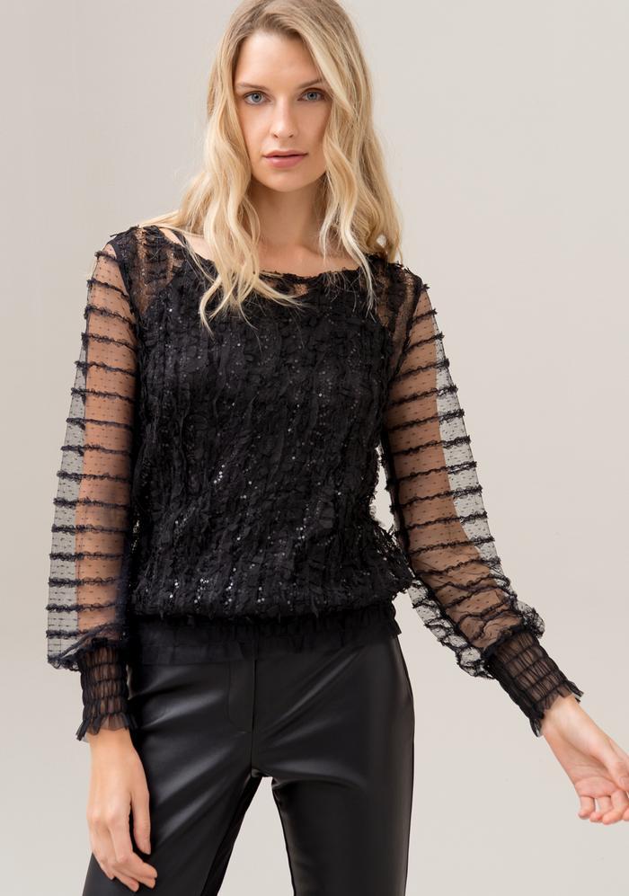 Top blusa regular in tessuto trasparente FRACOMINA | Top | F120W03004W00901053 BLACK