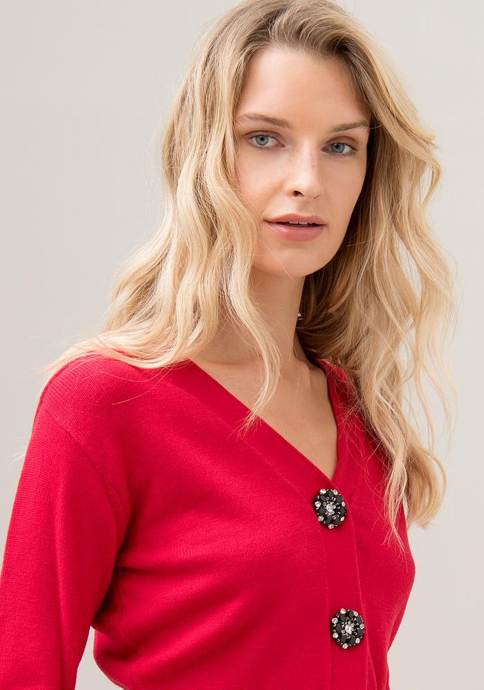 Cardigan regular corto con bottoni gioiello FRACOMINA | Maglia | F120W06015K03501234 RED