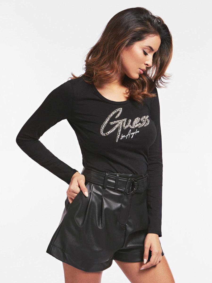 T-SHIRT LOGO FRONTALE GUESS   T-shirt   W0YI65 JA900JBLK