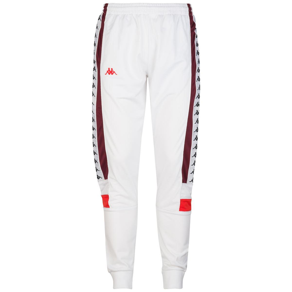 Pantalone da uomo in tricot garzato Kappa | Pantalone | 303LP70BY0 WHITE-RED DAHLIA