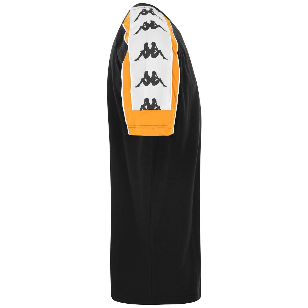 T-Shirt unisex girocollo in jersey Kappa | T-shirt | 304I050CA0 BLACK-OCHRE-WHITE