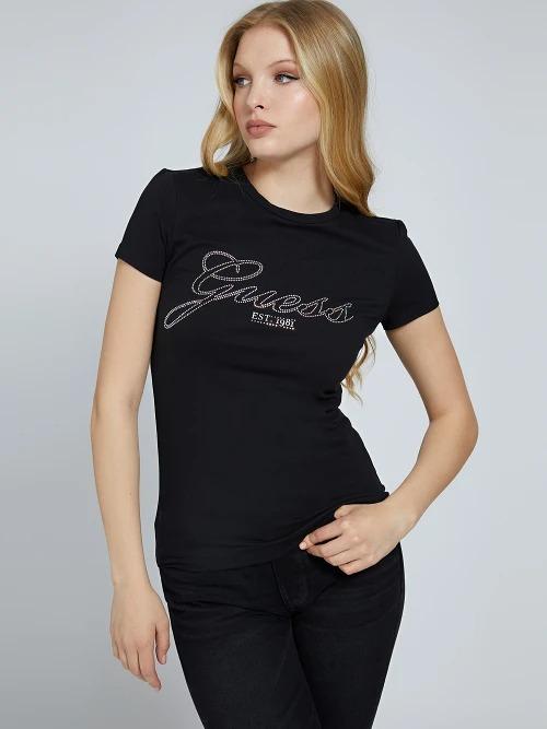 T-SHIRT LOGO STRASS GUESS   T-shirt   W1YI85 J1311JBLK