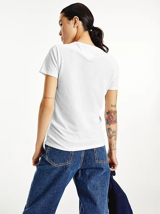 T-SHIRT ESSENTIAL SKINNY FIT CON LOGO TOMMY JEANS   T-shirt   DW0DW11239YBR WHITE
